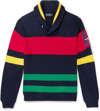 Polo Ralph Lauren Shawl-Collar Appliqued Striped Cotton Sweater