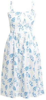 HVN Laura Fish-print Cotton-blend Midi Dress - Womens - White Multi