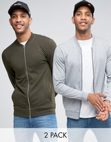 Asos Lightweight Muscle Jersey Bomber Jacket 2 Pack In Khaki/Gray Marl