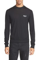 Givenchy Men's Leather Patch Wool Sweater