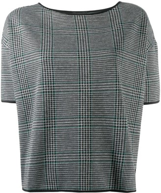 Emporio Armani Checked Short-Sleeved Knitted Top