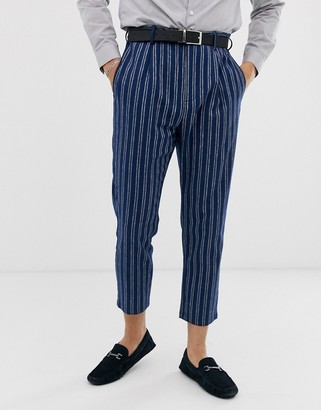 Gianni Feraud slim fit linen blend stripe pleated cropped suit trousers-Blue