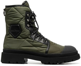 Salvatore Ferragamo Quilted Lace-Up Combat Boots