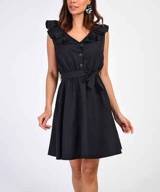 Milan Kiss Women's Casual Dresses BLACK - Black Ruffle Button-Front Tie-Waist Sleeveless Dress - Women