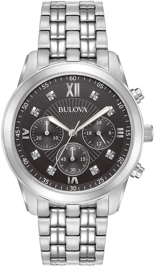 7b5894795 Bulova Diamond Markers Stainless Steel Mens - ShopStyle