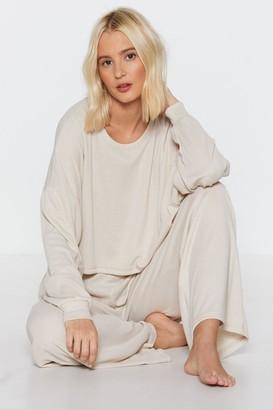 Nasty Gal Womens Chill Vibes Ribbed Lounge Sweatshirt - Beige - 8