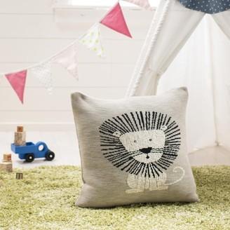 Safavieh Dandy Lion Cotton Baby Pillow, Grey/Natural