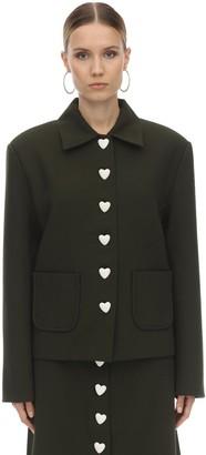 George Keburia Heart Button Crepe Blazer Jacket
