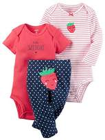 Carter's Baby Girl Outfit 3pc Set Shirt Pant Bodysuit Strawberry