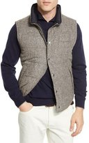 Brunello Cucinelli Reversible Quilted Tweed Vest, Chestnut