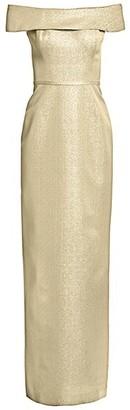 Teri Jon by Rickie Freeman Off-The-Shoulder Metallic Jacquard Gown