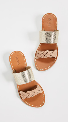 Soludos Metallic Braided Slide Sandals