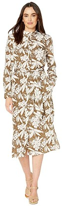 Lauren Ralph Lauren Buttoned Crepe Shirtdress (Explorer Olive/Mascarpone Cream) Women's Clothing