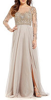 Terani Couture Beaded Bodice Chiffon Gown