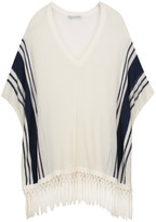 Autumn Cashmere Fringed striped open-knit poncho