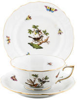 Herend Rothschild Bird Teacup, Saucer & Bread Plate