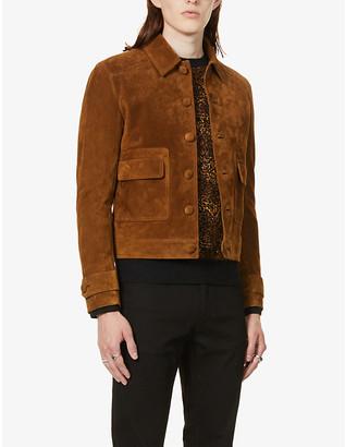 Saint Laurent Classic-collar suede blouson jacket
