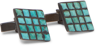 Foundwell Burnished Sterling Silver Turquoise Cufflinks