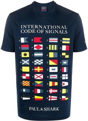 Paul & Shark Nautical Flags Logo T-shirt