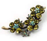 Avalaya Vintage Olive Green Floral Brooch (Antique Gold)