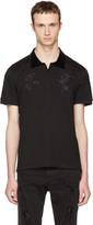 Alexander McQueen Black Embroidered Polo