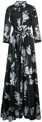 Carolina Herrera Belted Floral Print Dress
