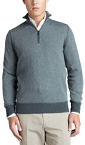Loro Piana Roadster Half-Zip Cashmere Sweater, Green