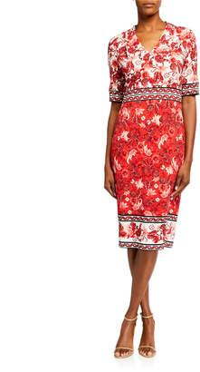 Maggy London Printed Jersey Midi Sheath Dress