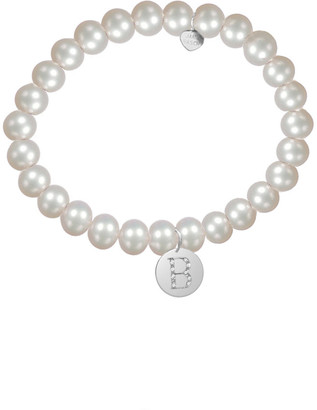 Jane Basch Silver Diamond & 6Mm Pearl Initial Stretch Bracelet (A-Z)