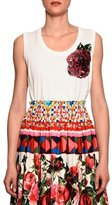 Dolce & Gabbana Sleeveless Scoop-Neck Tee w/Sequin Rose, White