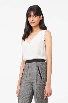 Rebecca Taylor Tailored Silk Double Georgette & Lace Tank