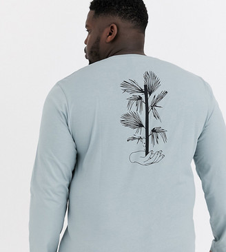 Asos Design DESIGN Plus long sleeve t-shirt with floral line drawing back print