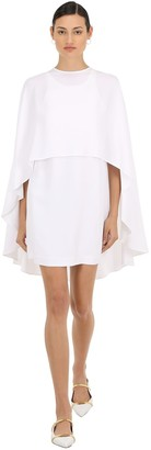 Sara Battaglia Viscose Crepe Mini Dress W/ Chiffon Cape