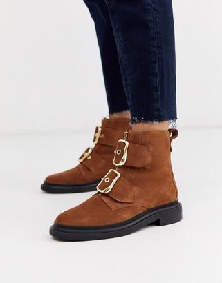 Asos Design DESIGN Attribute premium suede hardware boots in tan