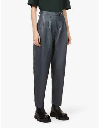 REMAIN Birger Christensen Marionette tapered high-rise leather trousers