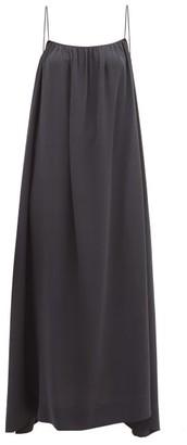 The Row Howard Gathered Silk-georgette Dress - Womens - Dark Grey