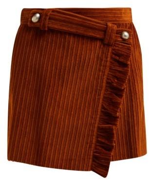 Miu Miu Ruffled Wrap-front Cotton-corduroy Mini Skirt - Womens - Brown