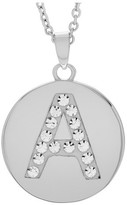 """Journee Collection Women's Brass Circle Initial Pendant Necklace with Cubic Zirconia - Silver (17.75"""")"""
