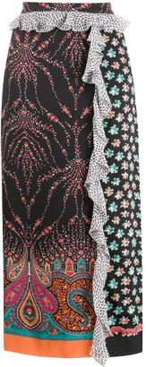 Liberty London Vita mixed-print satin skirt