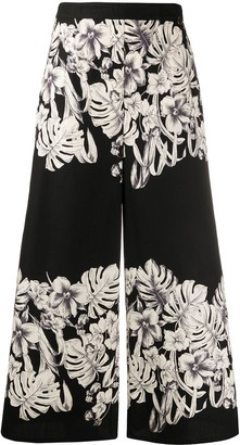 Twin-Set Floral Print Cropped Trousers
