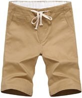 WSLCN Men's Summer Plain Flat Front Elastic Waist Casual Chino Shorts Solid Color