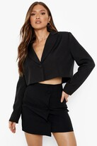 Thumbnail for your product : boohoo Stretch Woven Button Detail Wrap Mini Skirt