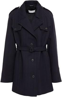 Maison Margiela Belted Herringbone Wool And Cotton-blend Coat