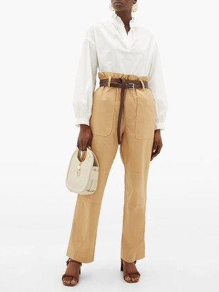 Sea Scott Paperbag-waist Cotton-blend Trousers - Womens - Camel
