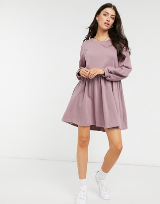 Urban Threads mini smock sweater dress in lilac