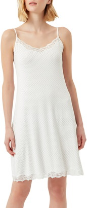 The White Company Pin Dot Lace Trim Chemise