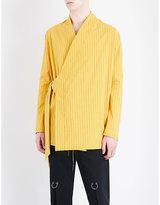 Damir Doma Pinstripe-print Kimono Cotton-blend Top
