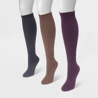 Muk Luks MUK LUK Women' 3 Pair Pack Fuzzy Yarn Knee High ock /Purple