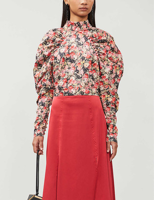 Rotate by Birger Christensen Kim floral-print satin-crepe blouse