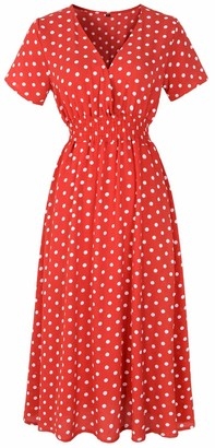 Furpazven Womens Dress Polka Dot V Neck Flower Short Sleeve Floral Print Casual Beach Dresses Knee Long Plus Size Red White Dots XL